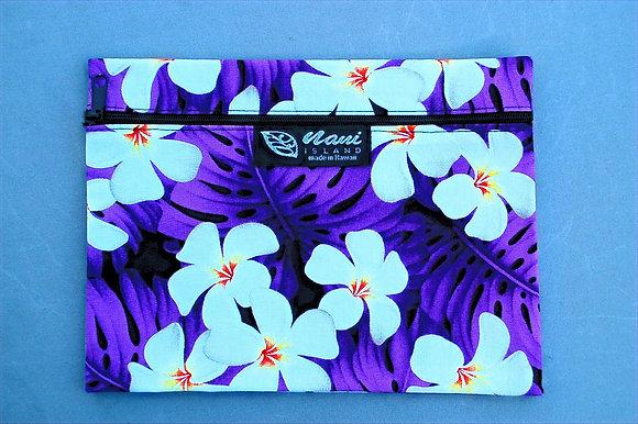 Tropical Cosmetic Pouch Modern Plumeria Purple