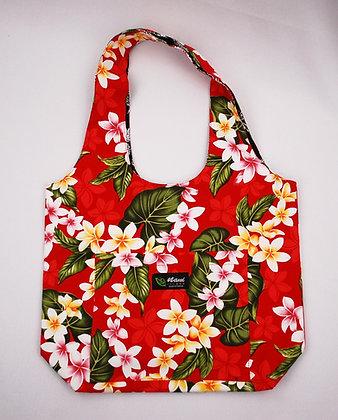 Tropical Reversible Hobo Bag New Plumeria Red