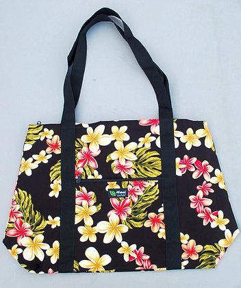 Tropical Weekender Bag Cute Plumeria Black