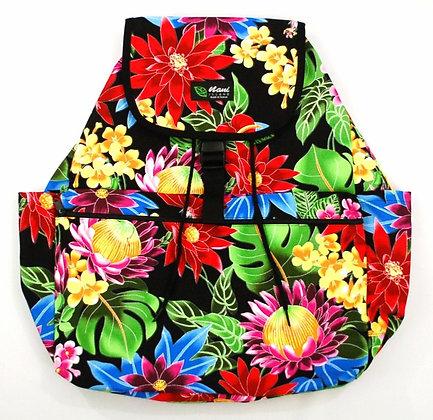 Tropical Backpack (Large) Hawaiian Garden Black