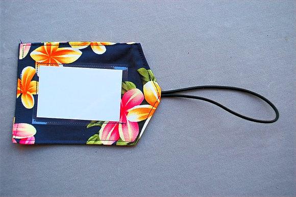 Tropical Luggage Tag Cute Plumeria Navy