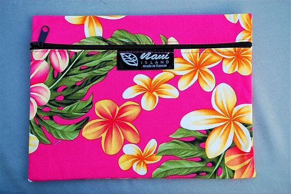 Tropical Cosmetic Pouch Cute Plumeria Pink