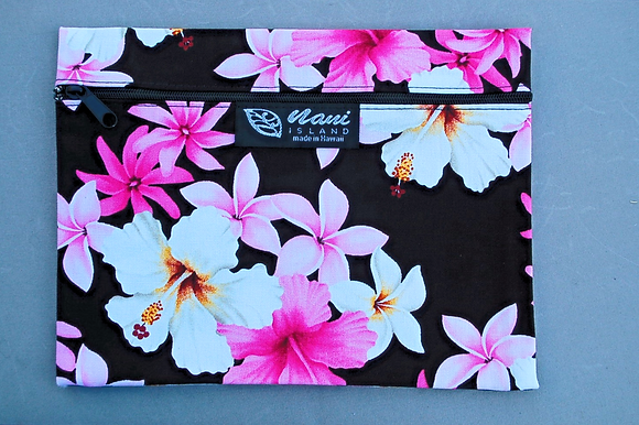 Tropical Cosmetic Pouch Dream of Flowers Black
