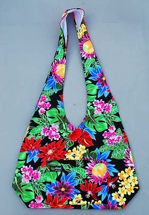 Tropical Crossbody Sling Bag Hawaiian Garden Black