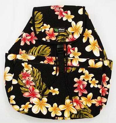 Tropical Backpack (Large) Cute Plumeria Black