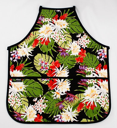 Tropical Apron (Adult) Night Bloomers Black