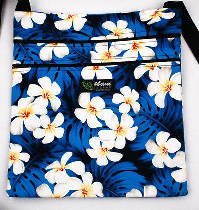 Tropical Passport Bag (XXL) Modern Plumeria Blue