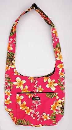 Tropical Reversible Sling Bag Cute Plumeria Pink