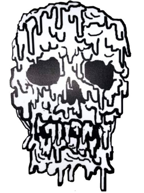 3-D Melted Skull Sticker