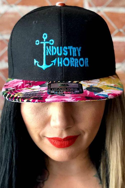 Black & Floral Bill Hat