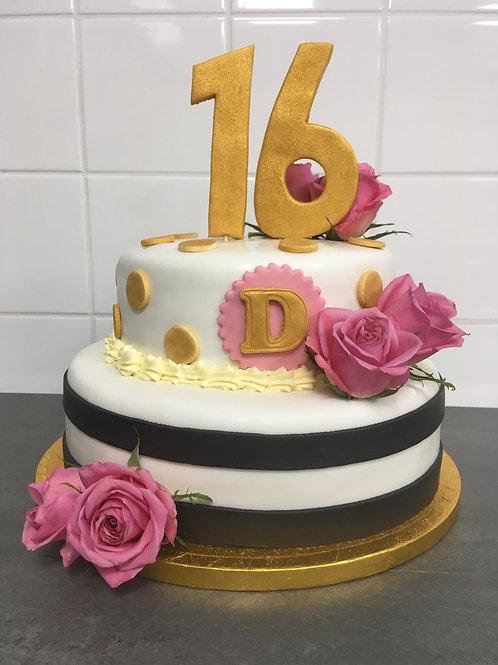 Sweet 16 taart (16 personen)