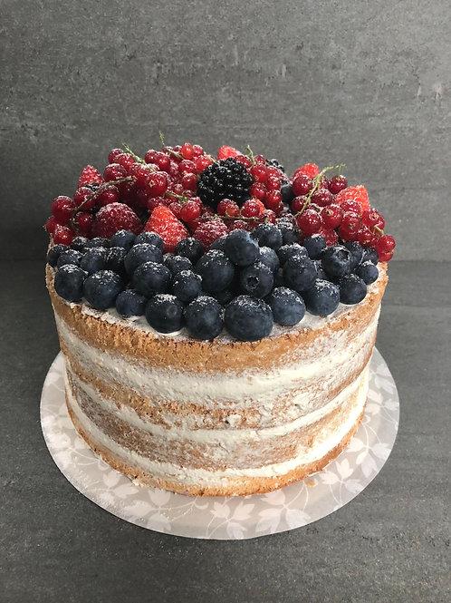 Naked cake met vers fruit (8 personen)