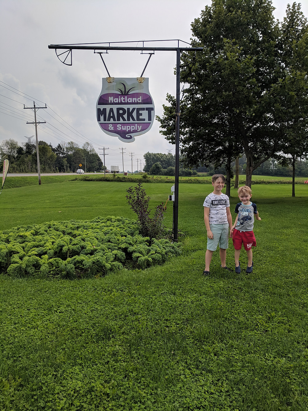Henry Kids in front of the Maitland Market