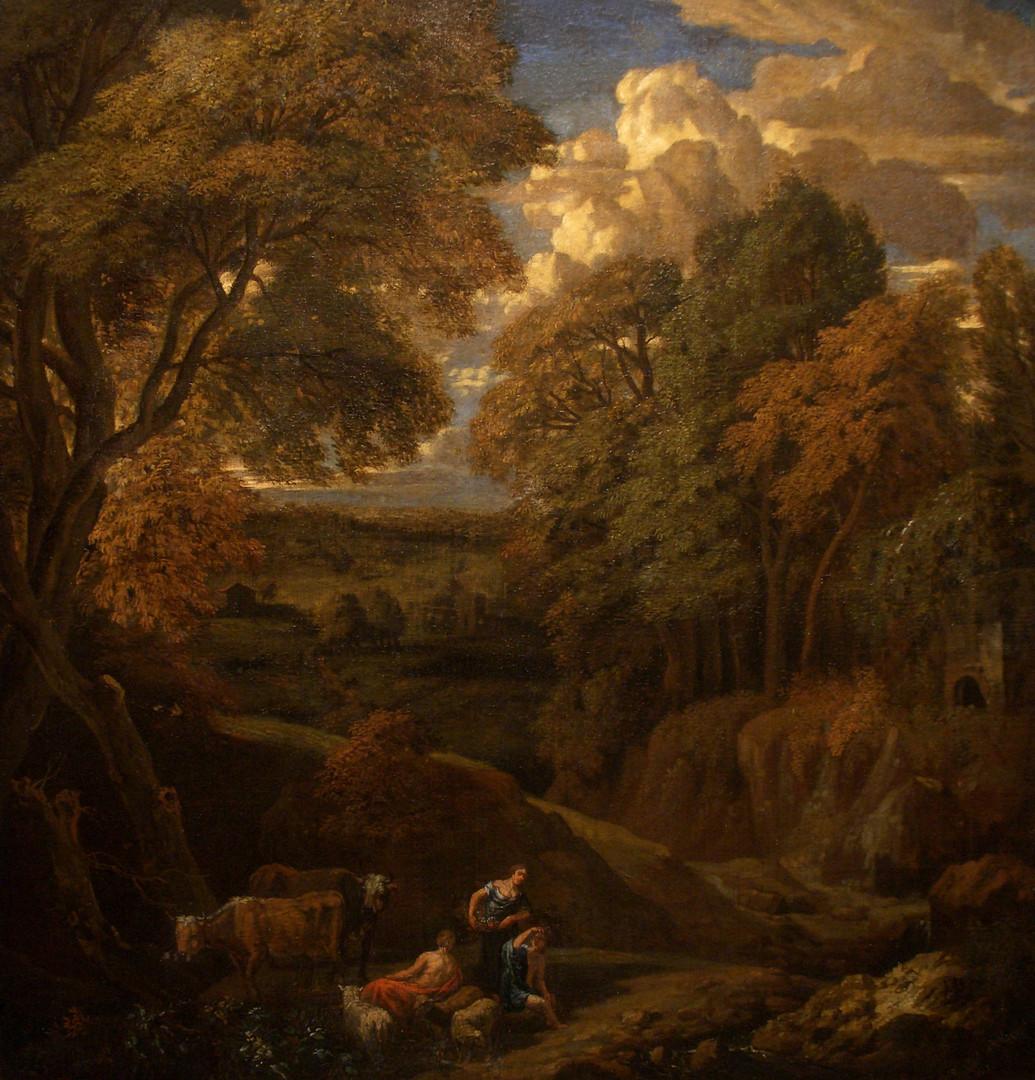 """Корнелис Хейсманс """"Лесной пейзаж с фигурами"""", последняя четверть XVII века Холст, масло. 58 х 57 см"""