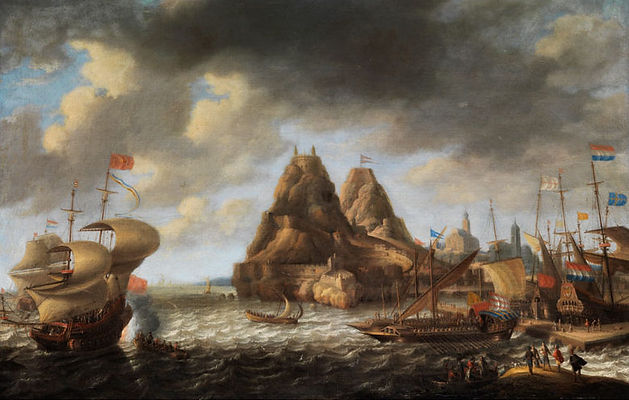 """Картина известного фламандского художника Бонавентуры Петерса """"Голландские и английские суда в порту Пеньон-де Велес-де-ла-Гомера"""", морской пейзаж, картины старых мастеров, продажа картин, художественная галерея"""