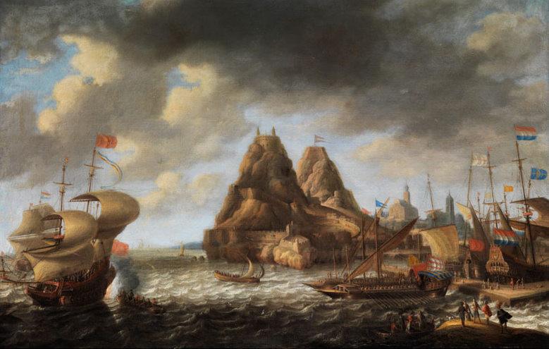 """Бонавентура Петерс """"Голландские и английские суда в порту Пеньон-де-Велес-де-ла-Гомера"""", 1650-52 Холст, масло. 54,8 х 84,8 см"""