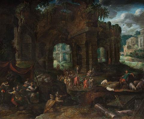 Купить старинную картину с римскими руинами, Картина маслом известного фламандского художника 17 века Валькенборха, пейзаж, старинная картина, живопись
