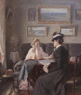 "Неизвестный художник ""У гадалки"", 1910-е Холст, масло. 55,5х47,5 см"