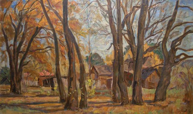 "Андрей Тутунов ""Осенние дубы"", 1985 Холст, масло. 60 х 100 см"