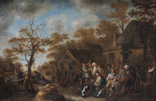 Купить старинную голландскую картину, Старинная картина маслом известного голландского художника 17 века Моленара, голландская живопись 17 века, антиквариат