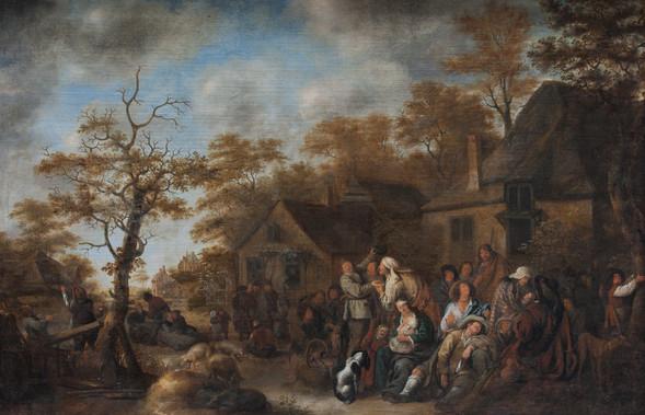 """Ян Моленар """"Цыганка-гадалка с крестьянами перед таверной"""", 1640 Холст, масло. 101 х 152 см"""