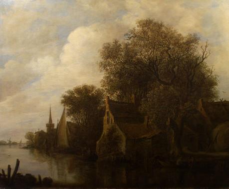 """Ян ван Гойен """"Речной пейзаж с домами на берегу"""", 1654 год Холст, масло. 60,4 х 73,5 см"""