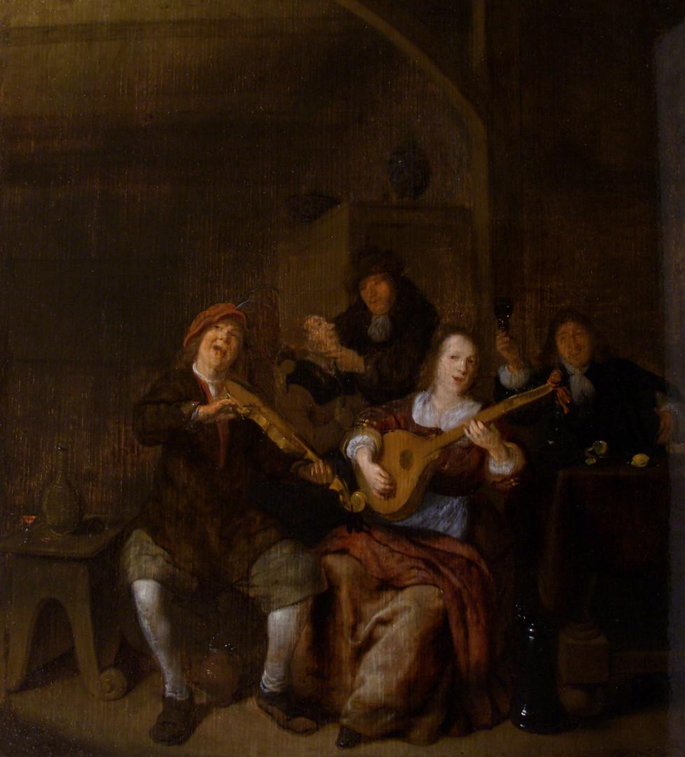 "Ян Моленар ""Музицирующая пара"", 1650-е Дерево (дуб), масло. 36,5 х 32 см"