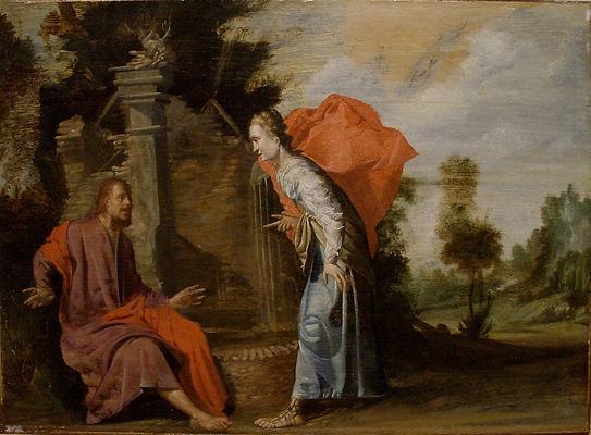 """старинная картина фламандского художника XVII века Филиппа Гизелара """"Христос и Самарянка"""", дерево, масло, живопись старых мастеров, продажа картин"""
