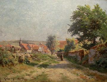Купить картину французского художника-импрессиониста. Густав Гиньори Сельский пейзаж, 1891