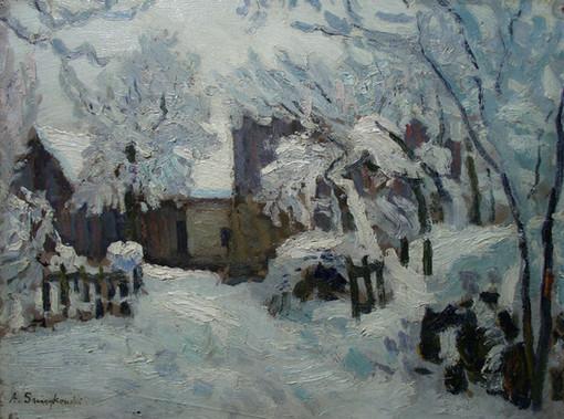 """Альфред Свейковский """"Вид на заснеженный двор"""", 1920-е Картон, масло. 30,5 х 40,5 см"""
