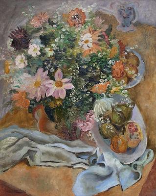 Купить французскую живопись | москва | галерея вобликова - клеран, цветочный натюрморт с фруктами известного французского художника постимпрессиониста Пьера Эжена Клерана