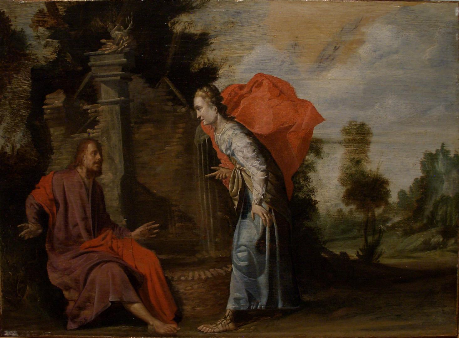 "Филипп Гизелар ""Христос и Самарянка"", 1640-е Дерево, масло. 32 х 43 см"