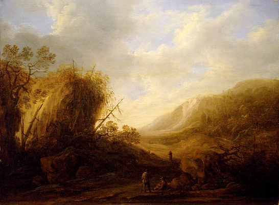 """Старинная картина голландского художника XVII века Франсуа Книббергена """"Пейзаж с путниками"""". Живопись Старый Мастеров."""