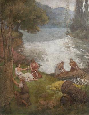 Купить картину французского художника 19 век. Москва галерея вобликова - умбер, Картина известного французского художника 20 века Эмбера, пейзаж с рыбаками, живопись