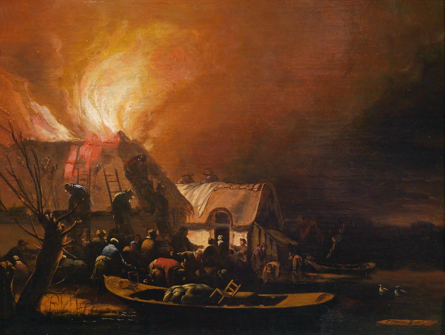"Эгберт Ливенс ван дер Пул ""Ночной пожар в деревне у воды"", Вторая половина  1650-х Дерево (дуб), масло. 26 х 35 см"