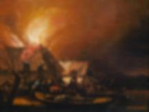 """Картины голландских художников 17 века. Эгберт ван дер Пул """"Ночной пожар в деревне у воды"""""""