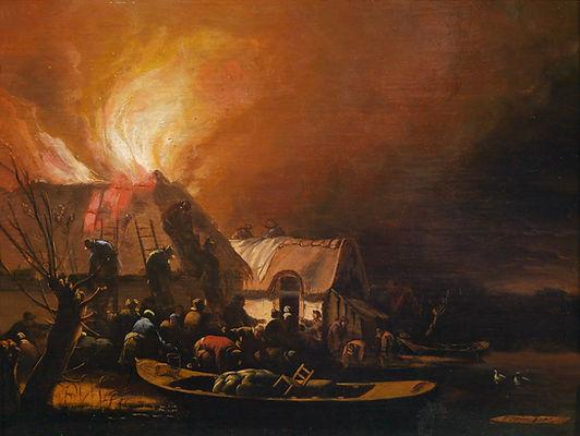 """Старинная картина голландского художника XVII века Эгберт ван дер Пул """"Пожар в деревне у воды"""""""