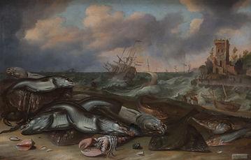 """Картины голландских художников 17 века. Виллем Ормеа и Адам Виллартс """"Рыба на морском берегу"""""""