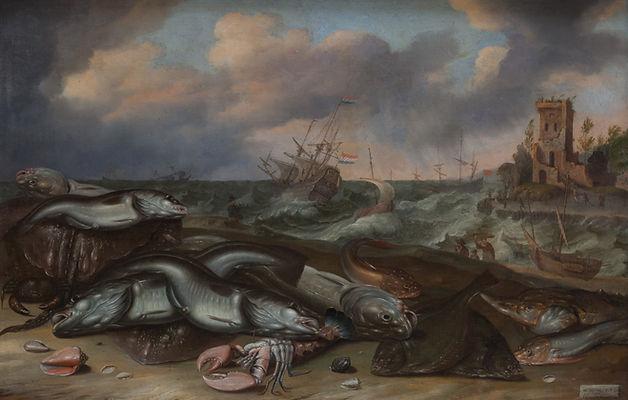 """Картина маслом известных голландских художников 17 века Ормеа и Виллартса. """"Рыба на морском берегу"""", морской пейзаж, старинная живопись"""