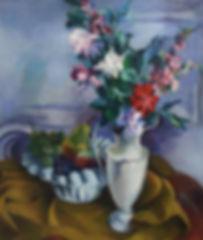 купить картину стиль ар-деко - румянцев. Картина маслом французского художника Румянцева, натюрморт с цветами и фруктами