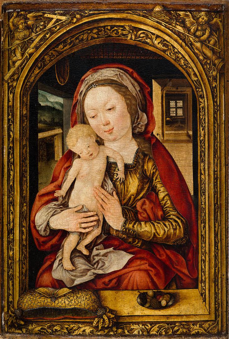 """Мартин Кальденбах """"Мадонна с Младенцем в окне"""", Около 1506 Дерево, масло. 31 х 21,5 см"""