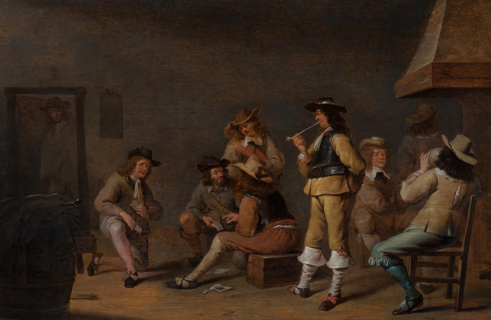 "Ян Олис ""В караулке"", 1630-е Дерево (дуб), масло. 41 х 61 см"