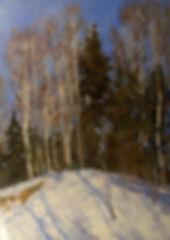 Купить зимний пейзаж в стиле импрессионизм Виктора Дмитриевского | Москва, картина маслом известного русского советского художника 20 века, живопись, пейзаж