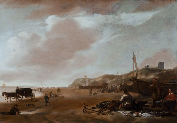 Купить старинный голландский пейзаж, Старинная картина маслом известного голландского художника 17 века Эсселенса, морской пейзаж, антиквариат, живопись
