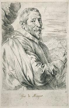 Антонис ван Дейк, Портрет Йооса де Момпера. 1630-е , 24.3×15.7 см, Гравюра, Бумага