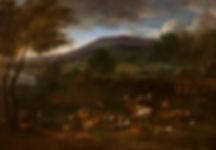 """Купить старинную картину. Картины старых мастеров. Питер Баут """"Вечерний пейзаж с крестьянами"""""""