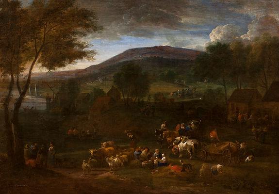 """Старинная картина маслом известного фламандского художника Питера Баута """"Вечерний пейзаж с крестьянами"""", живопись, антиквариат"""