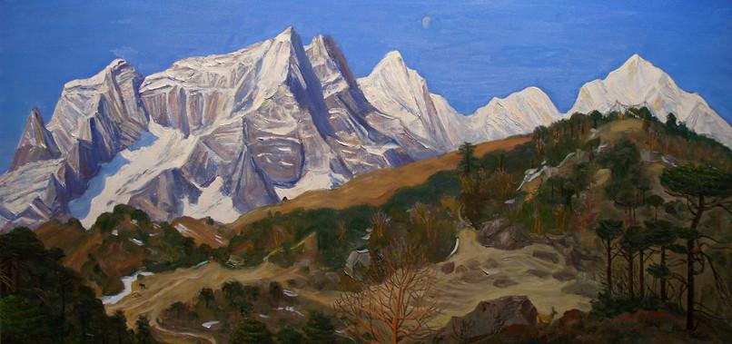 "Афанасий Осипов ""В Гималаях"", 2004 Холст, масло. 75 х 170 см"