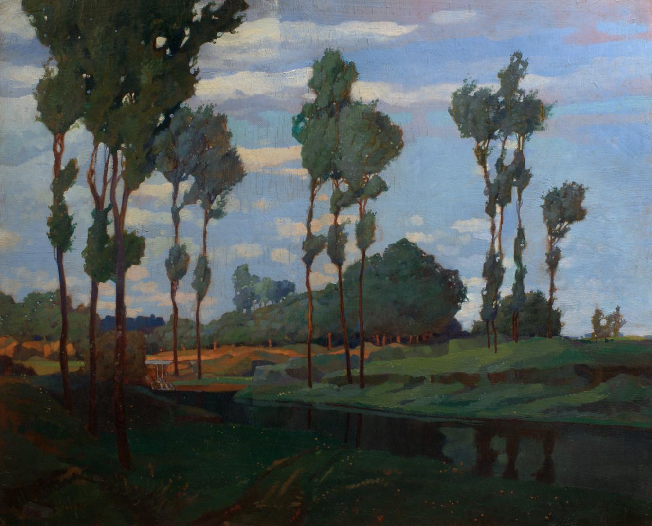 "Ханс Шульце ""Ветреный день"", 1920-е Картон, масло. 38 х 47,5 см"