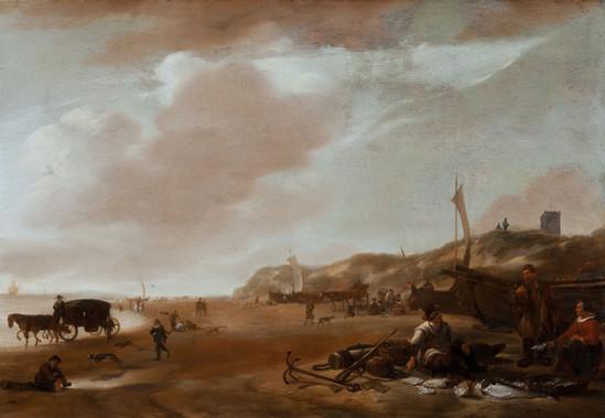 """Якоб Эсселенс """"Торговцы рыбой на пляже Эгмонд-ан-Зее"""", 1660-е Дерево (дуб), масло. 46,6 х 66,6 см"""